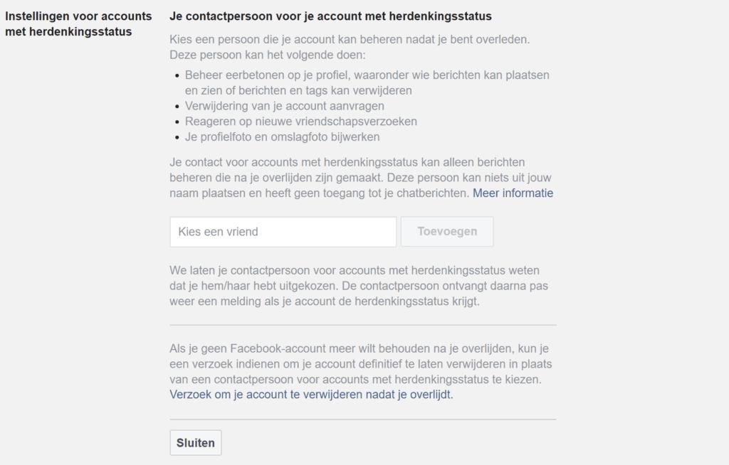 Facebook Herdenkingsstatus